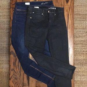 Gap legging jeans 26, black and dark wash